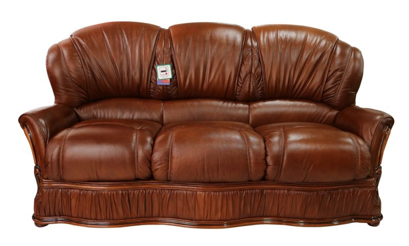 Bologna 3 Seater Genuine Italian Tabak Brown Leather Sofa Offer from designersofas4u
