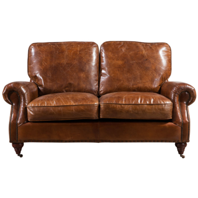 Brooklyn Vintage Distressed Leather 2 Seater Settee Sofa from designersofas4u