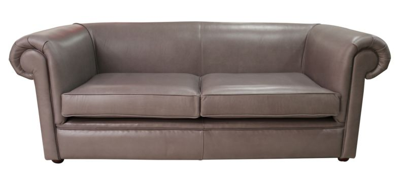 Chesterfield 1930 3 Seater Settee Old English Lead Leather Sofa from designersofas4u