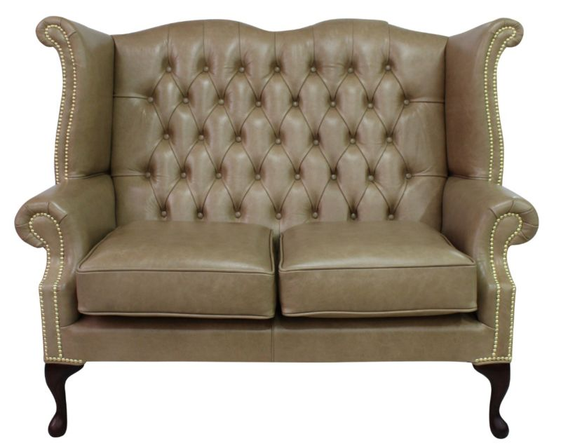 Chesterfield 2 Seater Queen Anne High Back Wing Sofa Old… from designersofas4u