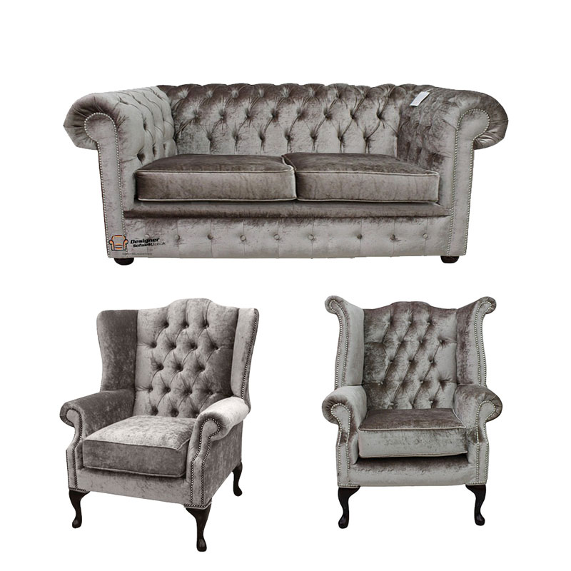 Chesterfield 2 Seater Sofa + Mallory Wing Chair + Queen Anne… from designersofas4u