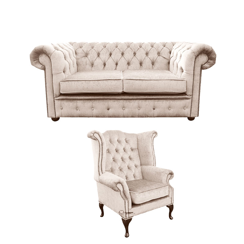 Chesterfield 2 Seater Sofa + Queen Anne Wing Chair Harmony… from designersofas4u