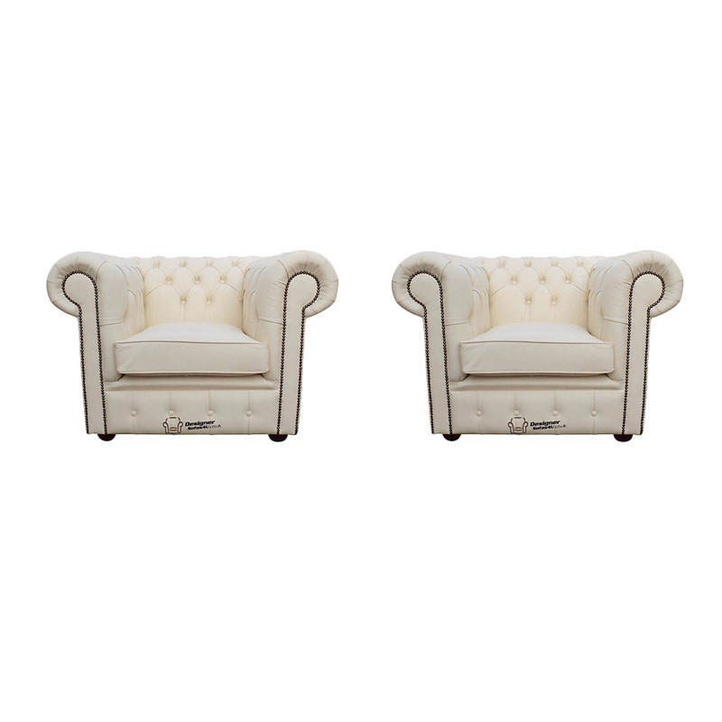 Chesterfield 2 x Club Chairs Leather Sofa Suite Offer Ivory from designersofas4u