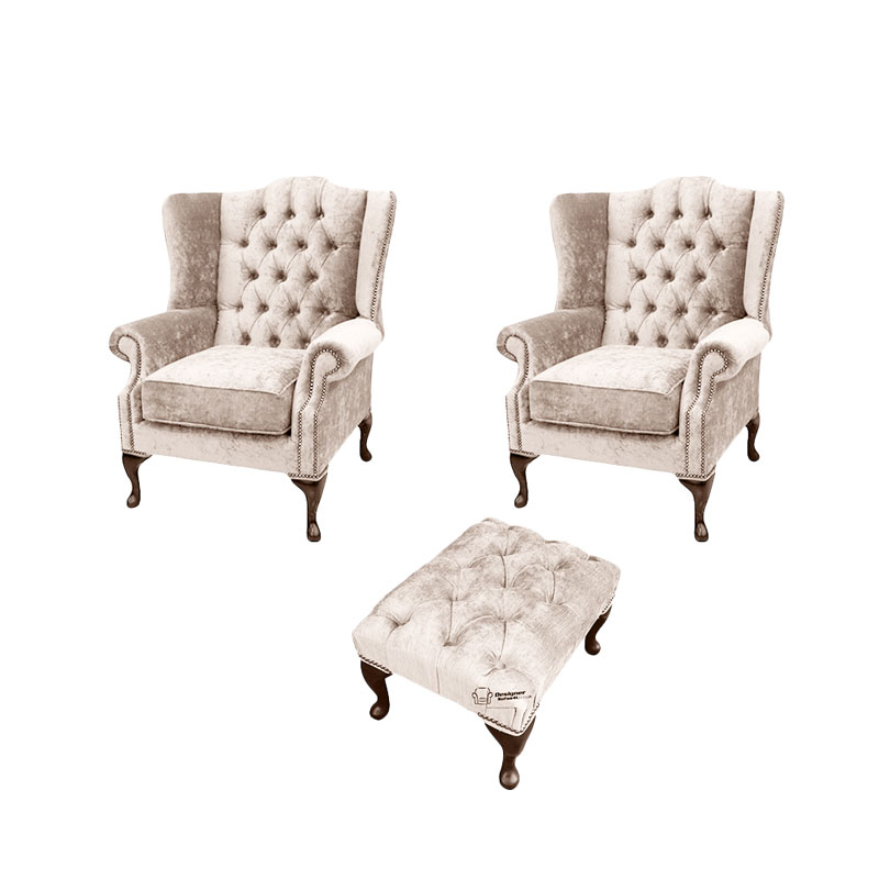 Chesterfield 2 x Mallory Wing chairs + Footstool Harmony… from designersofas4u