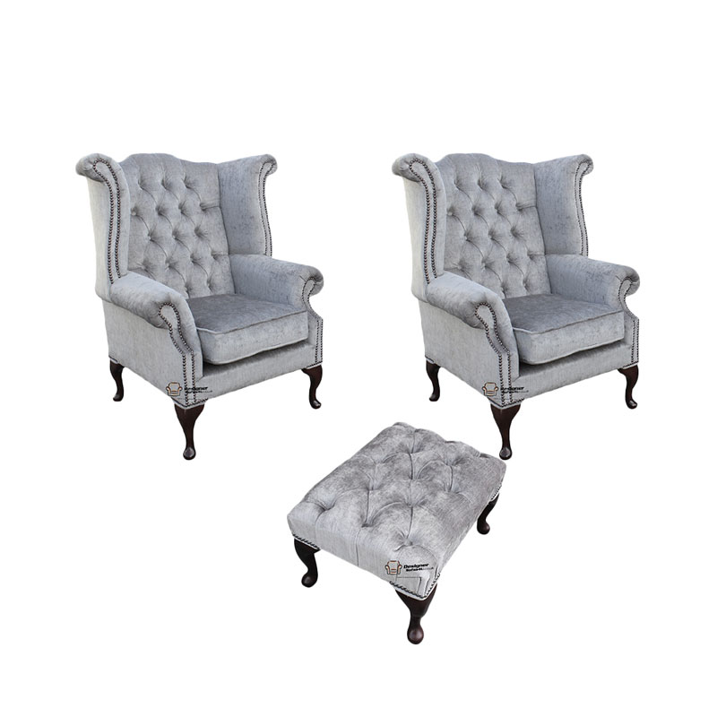 Chesterfield 2 x Queen Anne Chairs + Footstool Perla Illusions… from designersofas4u