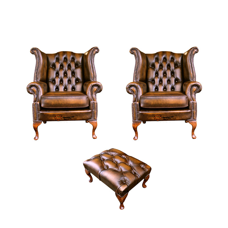 Chesterfield 2 x Queen anne Chairs+footstool Leather Sofa… from designersofas4u