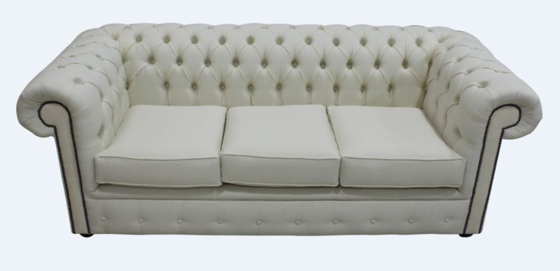 Chesterfield 3 Seater Settee Charles Linen Cream Sofa Offer from designersofas4u