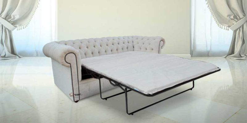 Chesterfield 3 Seater Settee Elegance Oyster Velvet SofaBed Offer from designersofas4u