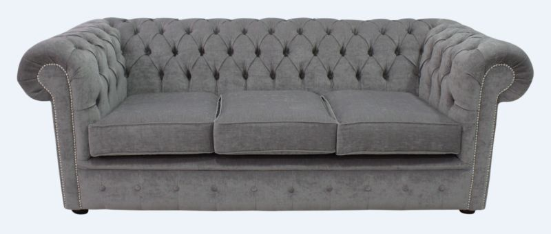 Chesterfield 3 Seater Settee Pimlico Grey Fabric Sofa Offer from designersofas4u