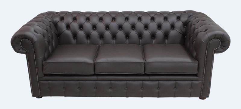 Chesterfield 3 Seater Sofa Settee Shelly Dark Chocolate Leather from designersofas4u