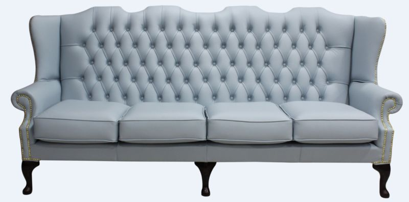 Chesterfield 4 Seater Mallory Flat Wing Queen Anne High Back… from designersofas4u