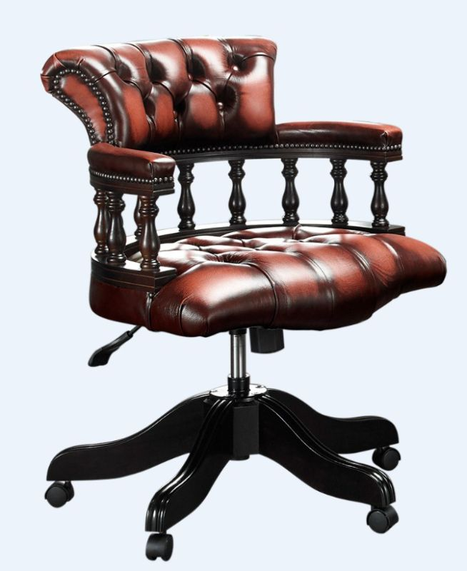 Chesterfield Captains Office Chair Antique Light Rust Leather from designersofas4u