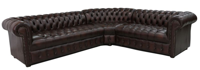Chesterfield Corner Sofa Unit Buttoned Seat 3 Seater + Corner… from designersofas4u