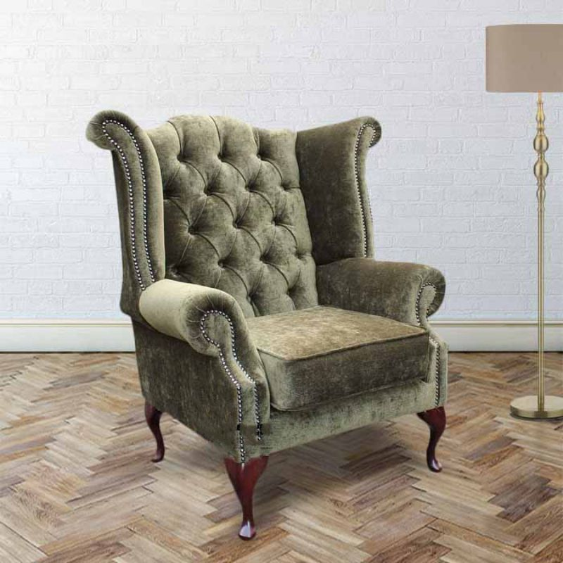 Chesterfield Fabric Queen Anne High Back Wing Chair Moss Green from designersofas4u
