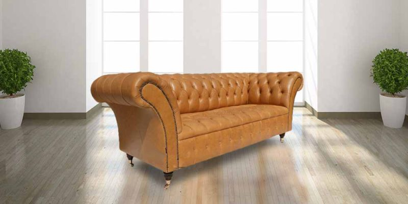 Chesterfield Grosvenor 3 Seater Sofa Settee Old English Buckskin… from designersofas4u