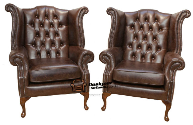 Chesterfield Offer Pair Queen Anne High Back Wing Chair Oil… from designersofas4u