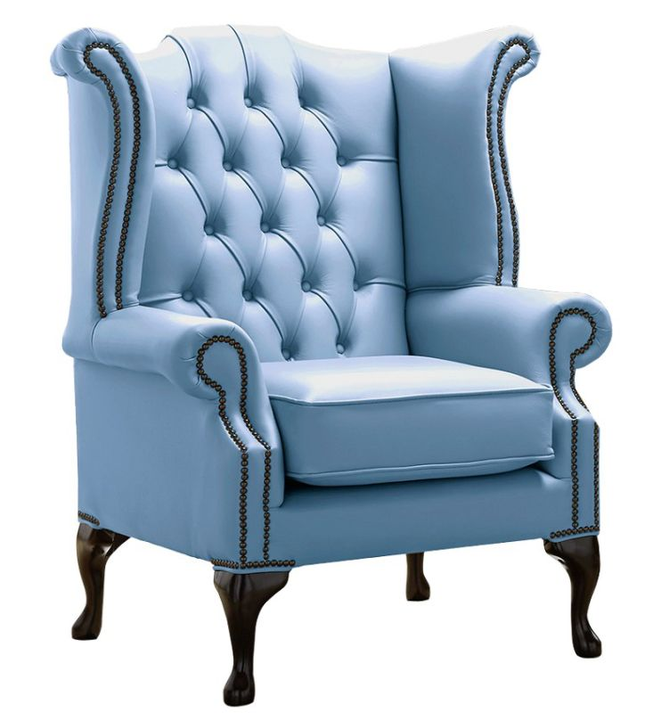 Chesterfield Queen Anne High Back Wing Chair Shelly Haze Leather from designersofas4u