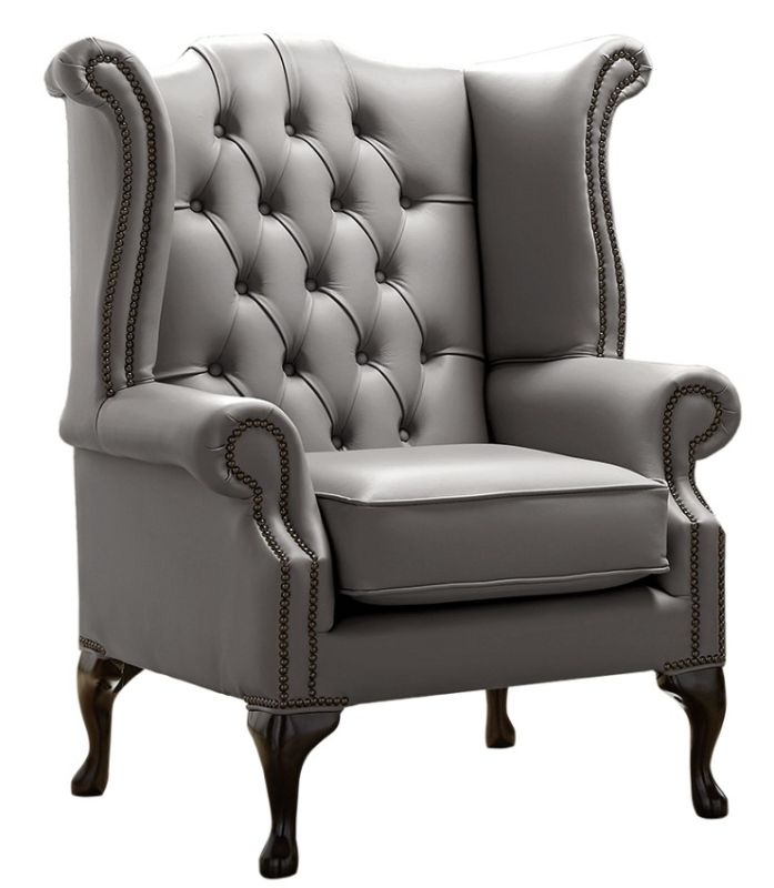 Chesterfield Queen Anne High Back Wing Chair Shelly Silver… from designersofas4u