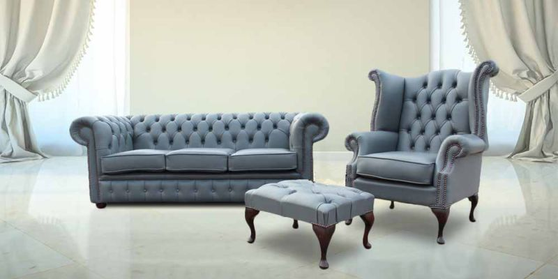 Chesterfield Soft Vele Iron Grey Leather Sofa Offer 3+1+ Footstool from designersofas4u