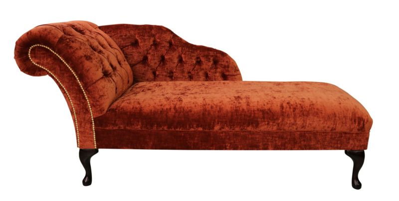 Chesterfield Velvet Chaise Lounge Day Bed Modena Terracotta… from designersofas4u