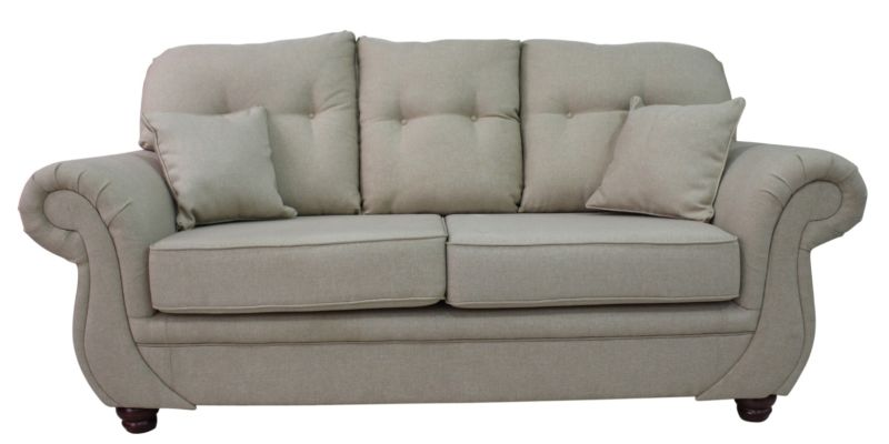 Claremont 3 Seater Sofa Settee Casino Biscuit Fabric from designersofas4u
