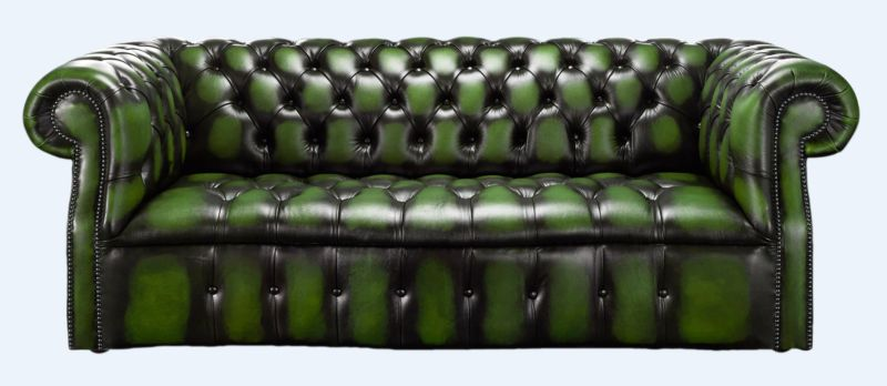 Darcy Green antique leather Chesterfield sofa | DesignerSofas4U from designersofas4u