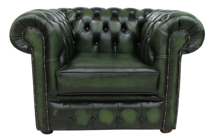 DesignerSofas4U | Buy antique green leather Chesterfield… from designersofas4u