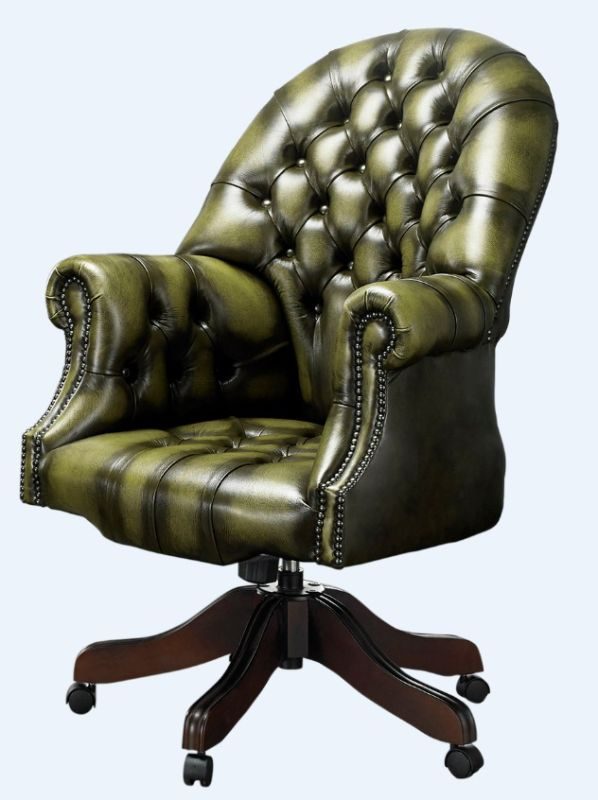 DesignerSofas4U | Olive leather Chesterfield office chair from designersofas4u