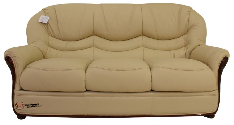 Florence Genuine Italian Leather 3 Seater Sofa Settee Cream from designersofas4u