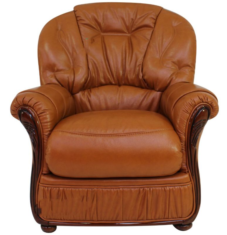 Indiana Genuine Italian Sofa Armchair Tan Leather from designersofas4u