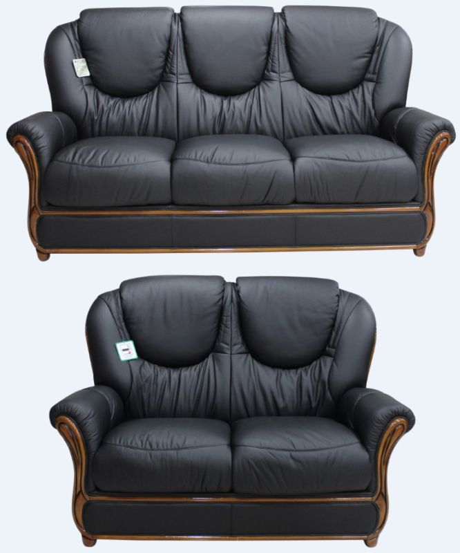 Juliet Genuine Italian Leather 3+2 Seater Sofa Suite Black from designersofas4u
