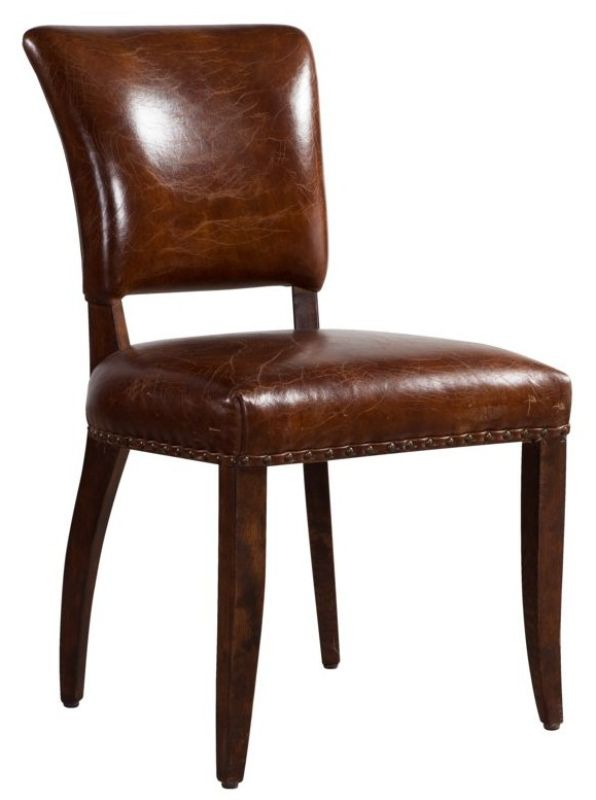 Jute Vintage Leather Distressed Dining Chair from designersofas4u