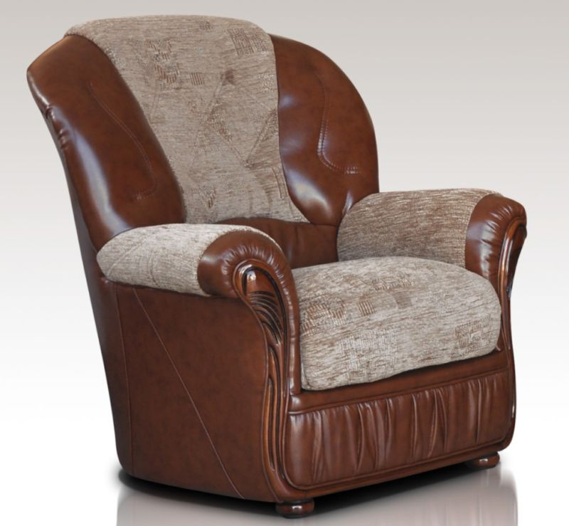 Kansas Armchair Genuine Italian Brown Leather Fabric Sofa Offer from designersofas4u