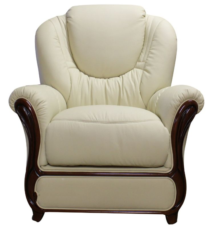 Mississippi Genuine Italian Sofa Armchair Cream Leather from designersofas4u