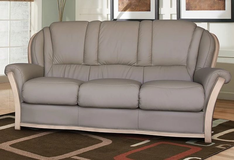 Reggio 3 Seater Italian Leather Sofa Light Grey from designersofas4u