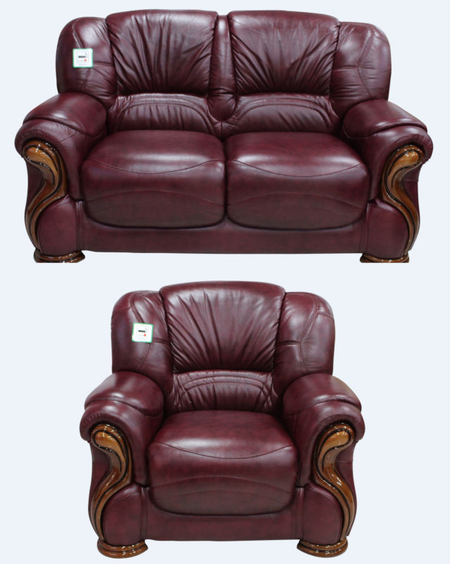 Susanna 2+1 Italian Leather Sofa Suite Burgandy Offer from designersofas4u