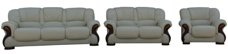 Susanna 3+2+1 Italian Leather Sofa Suite Cream Offer from designersofas4u
