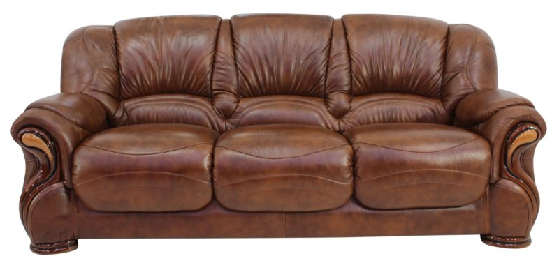 Susanna Italian Leather 3 Seater Sofa Settee Tabak Brown Offer from designersofas4u