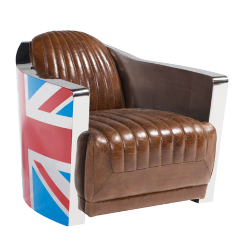 Union Jack Aviator Retro Distressed Leather Tub Chair | Armchair from designersofas4u