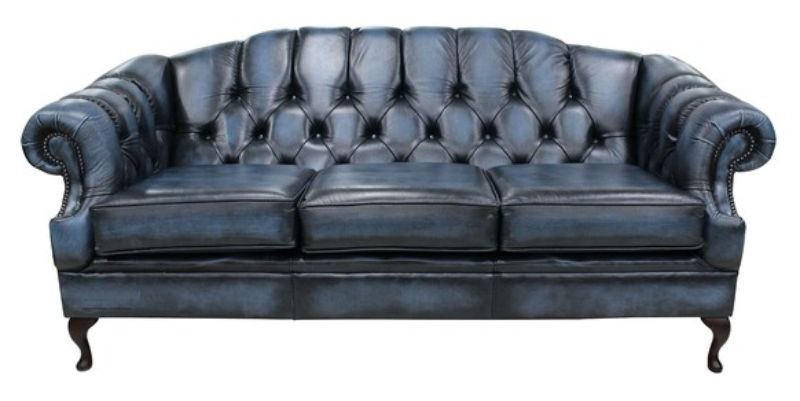 Antique Blue Chesterfield Victoria 3 Seater Leather Sofa Settee from designersofas4u