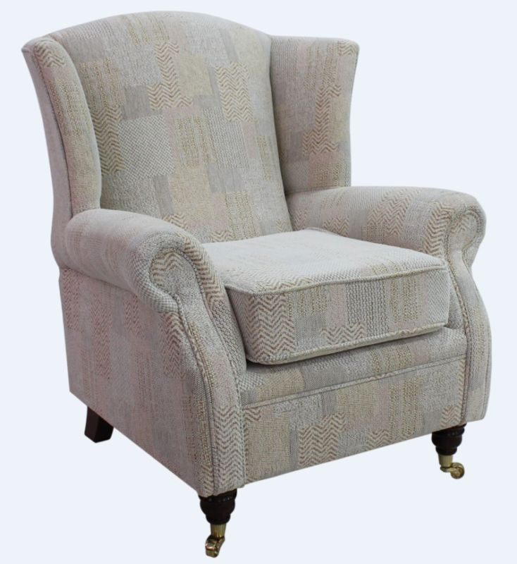 Wing Chair Fireside High Back Armchair Symphony Biscuit Fabric from designersofas4u