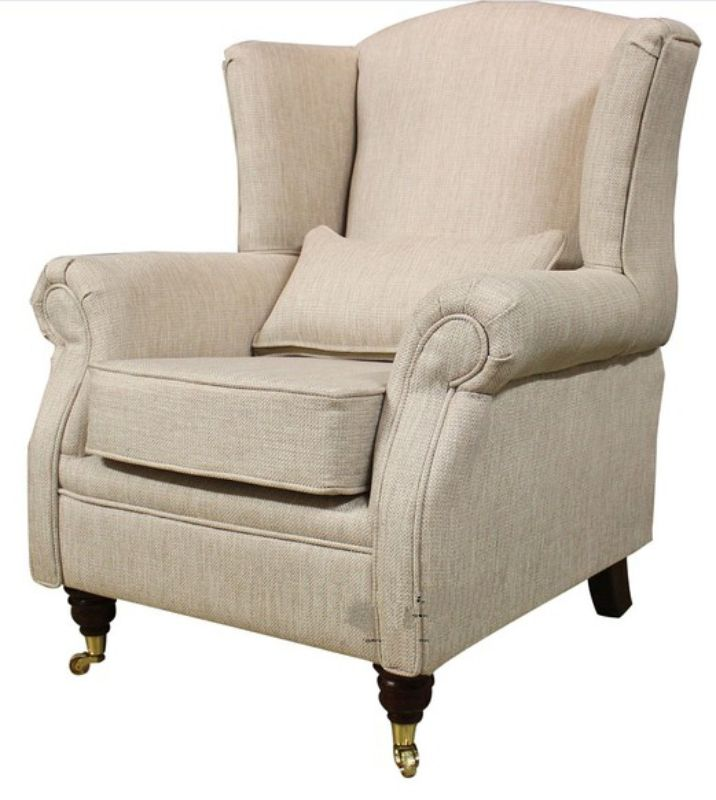 Wing Chair Fireside High Back Armchair Zoe Plain Biscuit from designersofas4u