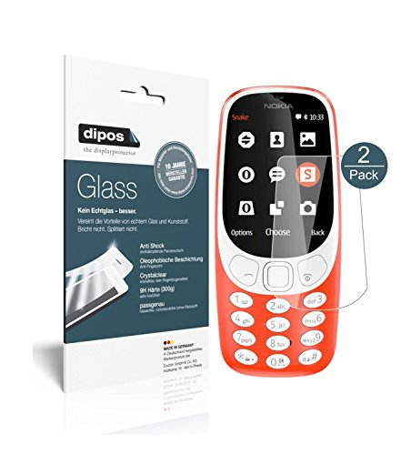 dipos I 2x Screen Protector compatible with Nokia 3310 Flexible Glass 9H Display Protection from dipos
