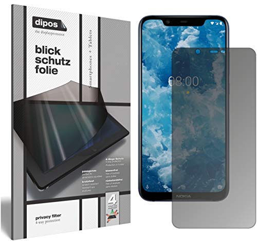 dipos I Privacy Filter compatible with Nokia 8.1 Screen Protector Anti-Spy 4-Way Protection from dipos