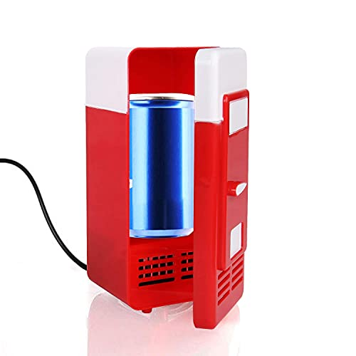 Discoball USB Mini LED Fridge Beverage Drink Cans Cooler Warmer (Red) from Discoball