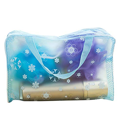 dontdo Transparent Travel Storage Bag Zipper Makeup Cosmetic Toiletry Wash Pouch Organizer Blue from dontdo