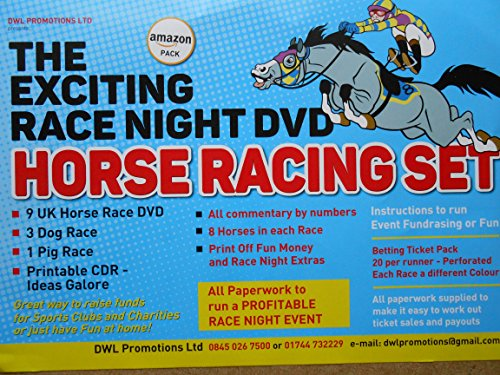 THE EXCITING RACE NIGHT DVD SET - ( NEW NAMES FOR 2018) 9 UK HORSE RACES - 3 DOGS AND 1 PIG AND ALL PAPERWORK AND BETTING TICKET SET from DWL