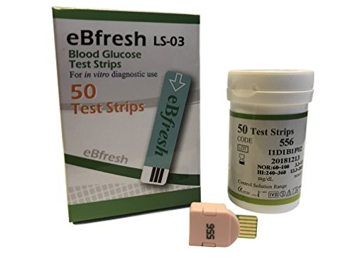 50 Strips - eBfresh eB-F01 Blood Glucose Monitor/Monitoring Test/Testing Kit Replacement Strips (No - I am not a Diabetic) from eBfresh eB-F01