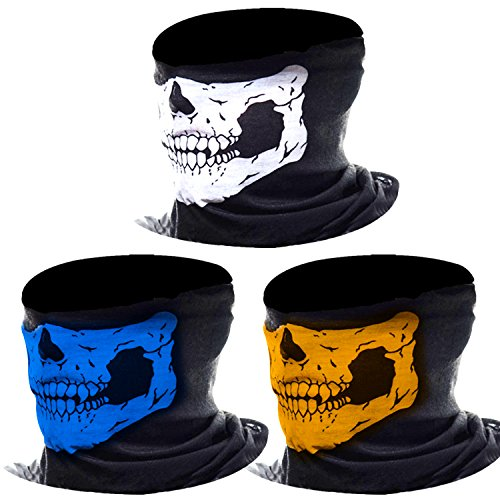 3 Pack Seamless Skull Face Tube Mask Motorcycle Face Mask Outdoor Mask Sport Headwear (Multicolor-A) from eBoot
