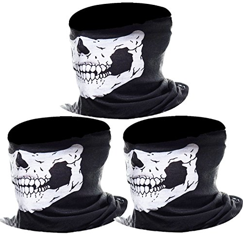 eBoot 3 Pack Seamless Skull Face Tube Mask Motorcycle Face Mask (White) from eBoot